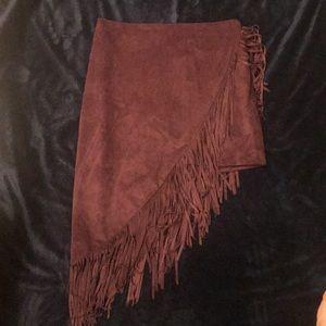 Express asymmetrical fringe skirt